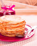 Pancakes and raspberry jam. Royalty Free Stock Photo