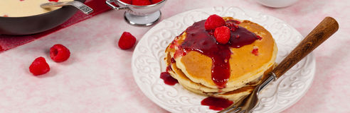 Pancakes with Raspberry Sauce Royalty Free Stock Photography