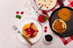 Pancakes with Raspberry Sauce Royalty Free Stock Photo