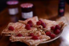 Delicious raspberry pancake stock photos