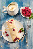 Pancakes with raspberry and whipped Cream Royalty Free Stock Images