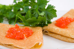 Pancakes with red caviar Royalty Free Stock Images
