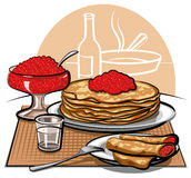 Pancakes with red caviar. And glass of vodka Royalty Free Stock Photos