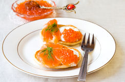 Pancakes with red caviar Stock Photo