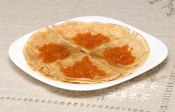 Pancakes with red caviar 3 Royalty Free Stock Images