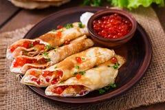 Pancakes with red caviar Stock Photo