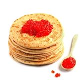 Pancakes with red caviar isolated . Royalty Free Stock Image