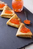Pancakes with red caviar. royalty free stock images