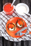 Pancakes with red caviar and sour cream Stock Images