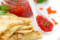 Pancakes with red caviar Royalty Free Stock Photo