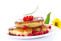 Pancakes with red currants Stock Photo