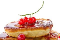 Pancakes with red currants Stock Images