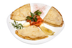 Pancakes with red fish Stock Photo