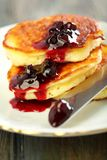 Pancakes with ricotta closeup. Royalty Free Stock Images