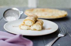 Pancakes with ricotta stock photography