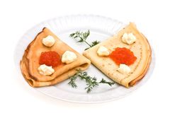 Pancakes with roe Royalty Free Stock Photography