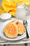 Pancakes on rustic table Stock Photo