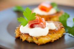 Pancakes with salmon Royalty Free Stock Photo