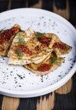 Pancakes with salmon caviar Royalty Free Stock Photography