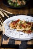 Pancakes with salmon caviar Stock Image