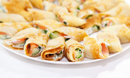 Pancakes with salmon and cheese Royalty Free Stock Images