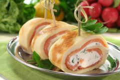 Pancakes with salmon and cream cheese Stock Photo