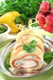 Pancakes with salmon and cream cheese Stock Photography