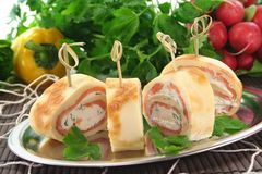 Pancakes with salmon and cream cheese Stock Images