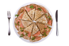 Pancakes with salmon fish Stock Images