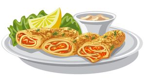 Pancakes with salmon stock illustration