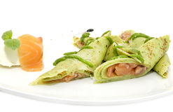 Pancakes with salmon Stock Photography