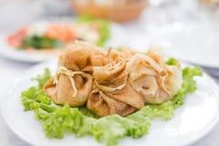 Pancakes with salmon Stock Photo