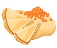 Pancakes with salmon red caviar. Pancake wrapping. Tasty festive dish. Vector illustration isolated on white background. Web site page and mobile app design Royalty Free Stock Photography