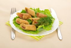 Pancakes with salmon and salad, cutlery Royalty Free Stock Photos