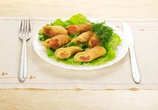 Pancakes with salmon and salad Stock Photography