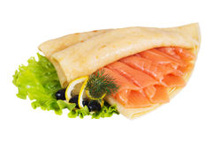 Pancakes with salmon on a white background Stock Photography
