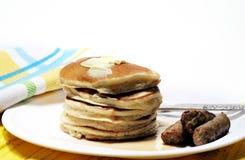 Pancakes And Sausage royalty free stock photos