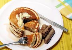 Pancakes And Sausage Stock Photos