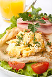 Pancakes with Scrambles Eggs and Ham Stock Image