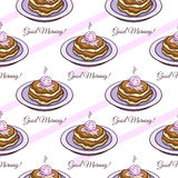 Pancakes Seamless Pattern Royalty Free Stock Images