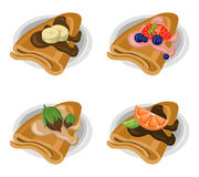 Pancakes set chocolate syrop and banana and fruits flavor Vector icon template retro style dotted background. S Stock Images