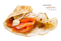 Pancakes with smoked salmon Royalty Free Stock Image