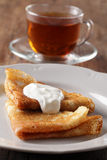 Pancakes with sour cream Royalty Free Stock Photography