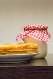 Pancakes. With a sour cream Royalty Free Stock Photo