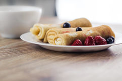 Pancakes with sour cream stock images