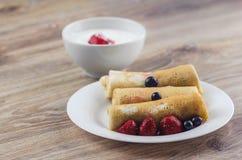 Pancakes with sour cream royalty free stock photos