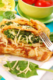 Pancakes with spinach Royalty Free Stock Photography