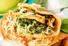 Pancakes with spinach Royalty Free Stock Images
