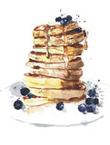 Pancakes stack breakfast food watercolor painting illustration isolated on white background Stock Images