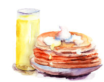 Pancakes stack with juice. Watercolor illustration Stock Images